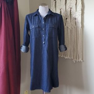 LOFT Dark Denim Chambray Shirt Dress